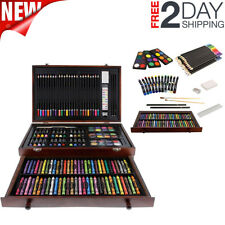 143 Piece-Mega Wood Box Art Supply Painting & Drawing Set Bonus Color Mixing NEW
