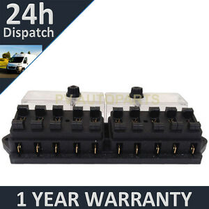 NEW 10 WAY UNIVERSAL STANDARD 12V 12 VOLT ATC BLADE FUSE BOX CLEAR CLASSIC CAR