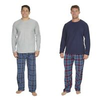 Mens Winter Long Sleeved Ribbed Fleeced Top Bottoms Lounge Wear Pyjama Set Size