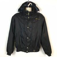 Vintage Descente Mens L Ski Snowboard Jacket Black Zip & Snap Hidden Hood Winter
