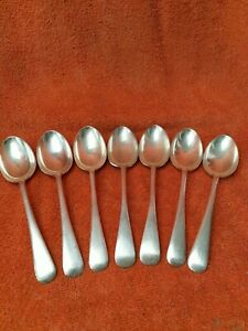 7 x Antique Silver Plate Large Desert Spoons, Walker & Hall C1920