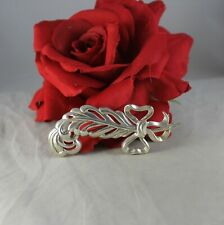 """Sterling Silver Feather Ribbon Bow 3"""" Pin Brooch Cat Rescue"""