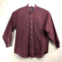 Ralph Lauren Big Shirt Plaid Long Sleeve Mens Size Large Button Down Red Blue