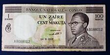 Congo 1 Zaire on 100 Makuta 1967 (F) Condition Banknote P-12a