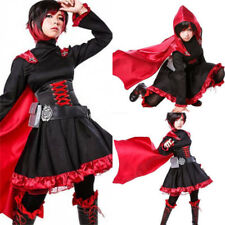 NEW Ruby Rose Cosplay Anime RWBY 3 Season Red Dress Cloak Battle Uniform Costume