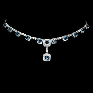 Round Cut London Blue Topaz Cz White Gold Plate 925 Sterling Silver Necklace 17