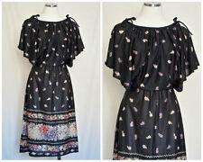 1970s Vintage - Floral Rose Print Boho Bohemian Style Dress - Size Medium