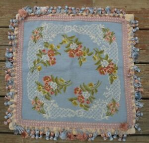 Vtg Katha Diddel Blue Pink Floral Needlepoint Wool Pillow Cover 19x20