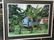 """GESELE Original MAUI HAWAIIAN WATERCOLOR HUGE 38""""x32"""" Vintage Framed in Glass"""
