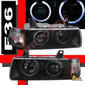 Black Halo Projector Headlights For 92-98 BMW E36 318i 325i 328i 4DR Sedan