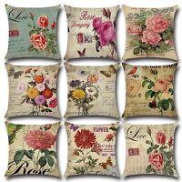 Vintage Flower Cotton Linen Pillow Case Sofa Car Throw Cushion Cover Home Decor