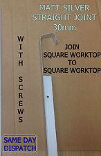 MATT SILVER STRAIGHT JOINT 30mm Kitchen Worktop Edging Trim *WITH SCREWS* *NEW*
