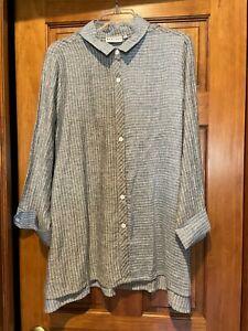 Size Medium Habitat Black Blue Linen Button Down Up Tunic Top Shirt Lagenlook