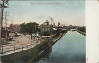 Antique 1909 Used Color Postcard Fulton New York State Barge Canal Workings
