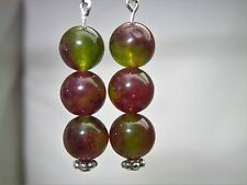 Natural Watermelon Tourmaline sterling silver earring.