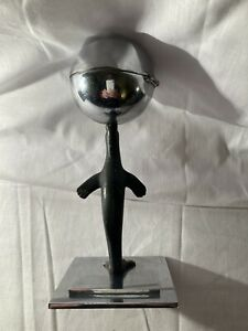 Art deco original bronze seal chrome ball and stepped base table lighter