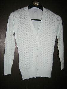TSW39 Womans Alfred Sung Small  Green Cotton Blend V-Neck Cardigan Sweater