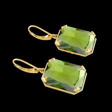 Big Size Peridot Drop Earrings 925 Sterling Silver & Gold Plated Fine Jewelry