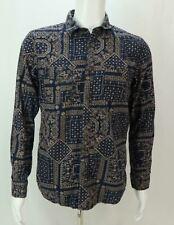 Forever 21 Men Men's Button Up Casual Shirt Geometric Print Blue Brown S
