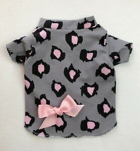 Gray & Pink Leopard Knit Dog T-Shirt Clothes Size XXXS-Large by Doogie Couture