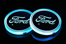 2PCS Fit For Ford Colorful LED Car Cup Holder Pad Mat Auto Atmosphere Lights New