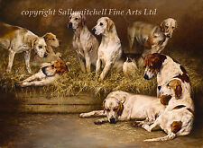 Fox Hound, hunting dog fine art print by Emily Charlesworth. LargeOn the Benches
