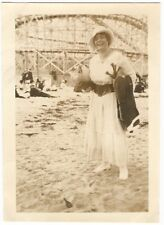 1910s Happy Lady at a Beachside Roller Coaster Black & White Snapshot