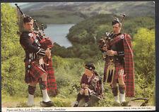 Scotland Postcard - Pipers & Boy, Loch Drunkie, Trossachs, Perthshire  B2401