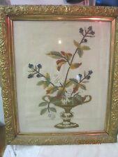 Vintage Needlepoint Picture Urn of Flowers & Blackberries
