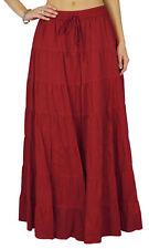 Phagun Women's Summer Cotton Maroon Skirt Ethnc Design Drawstring Waist