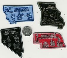 LOT 7  U.S. STATE  MAP MAGNETS  SET OF 4   MO MT NE NV   2-COLOR  MADE IN USA