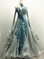 Ballroom Competition Dance Dress Grey Waltz Blue Peacoak Tango Women Gown New 12