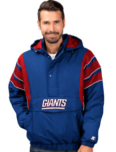 New York Giants Mens Starter The Impact 1/2 Zip Hooded Pullover Jacket - Large