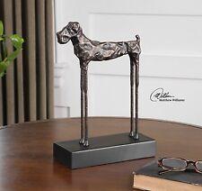 """13"""" CAST IRON LONG LEG DOG MODERN ART STATUE SCULPTURE GOLD BRONZE FINISH"""