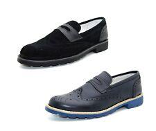 Scarpe uomo vera pelle francesine stringate scarpe inglesine in cuoio e camoscio