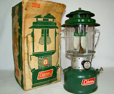 Vintage 1968 Coleman Two Mantle Green Lantern 220F-195 Camping Lamp w/ Orig Box
