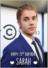 Justin Bieber Birthday Card A5 Personalised with any wording