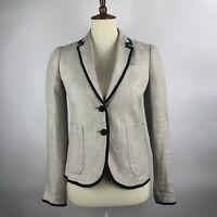 J Crew Women's Schoolboy Blazer Jacket Sz 0 Linen Beige Black Fringe Pockets