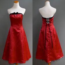 Retro Pin Up Girl Kitten Red Satin Poly Corset Strapless Dress Crinoline NWT S