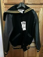 Ladies DeLong Letterman Jacket Size S Black/Gold Trim Genuine Leather Sleeves