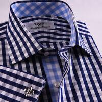 New Arrival Designed Blue Checkered Business Shirt Easy Iron Boss Mens Formal