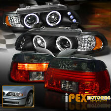 1997-2000 BMW 5-Series E39 Halo LED Projector Black Headlight + Smoke Tail Light