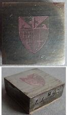 Matrice de sceau en acier STERN armoiries écusson 19e siècle seal fleur de lys