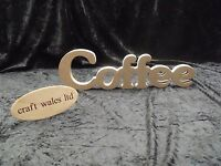Wooden Words Coffee MDF sign Kitchen Freestanding plaque Craft Cafe Family word