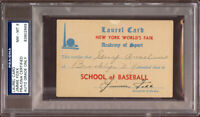 Jimmie Foxx Signed 1939 New York World Fair Laurel Card PSA DNA N MINT 8