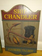 Ship Chandler Antique Arts and Crafts Large Wood Wooden Sign Boat Bar Art Thick