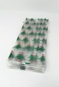 Christmas Cellophane Cello Treat Bags Holiday Tree 11.75in x 5in x 3in Holiday
