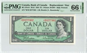 CANADA 1 Dollar 1954 BC-37bA-i Beattie Rasminsky Replacement, PMG 66 EPQ Gem UNC