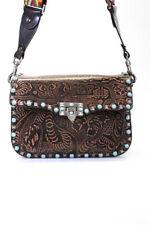 Valentino Womens Guitar Rockstud Rolling Embossed Leather Crossbody Handbag