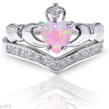 Pink Opal Claddagh Heart Simulated Diamond Celtic Sterling Silver Ring Set